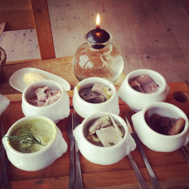 Six types of pickled herring served as one of the restaurant's main courses
