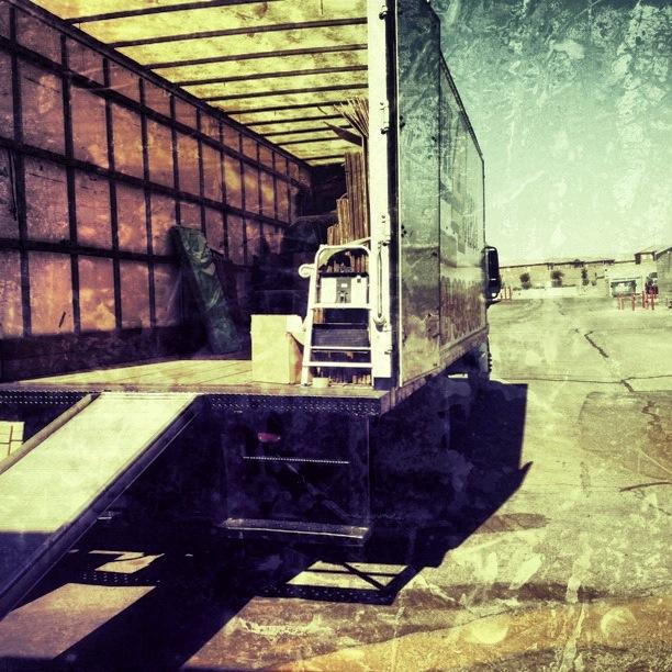 Movers empty the van