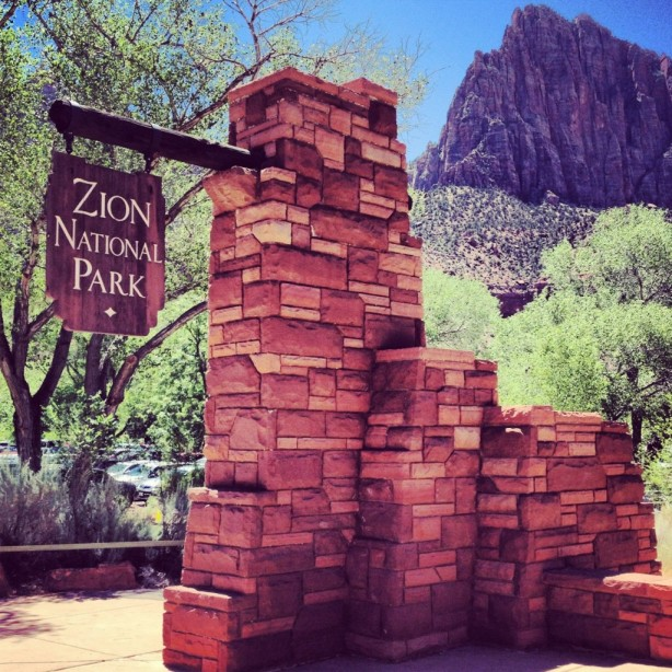 The entrance to Zion National Park in Utah