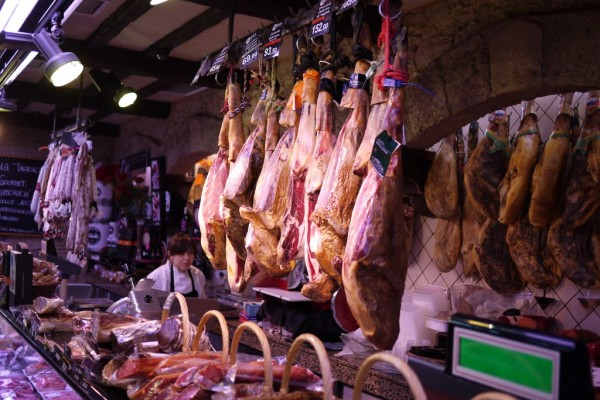 Meat for sale at  La Boqueria Mercat in Barcelona