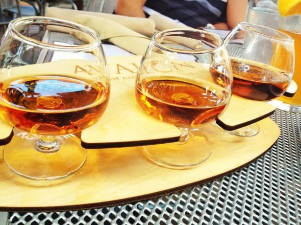 A bourbon sampler in Louisville, Kentucky
