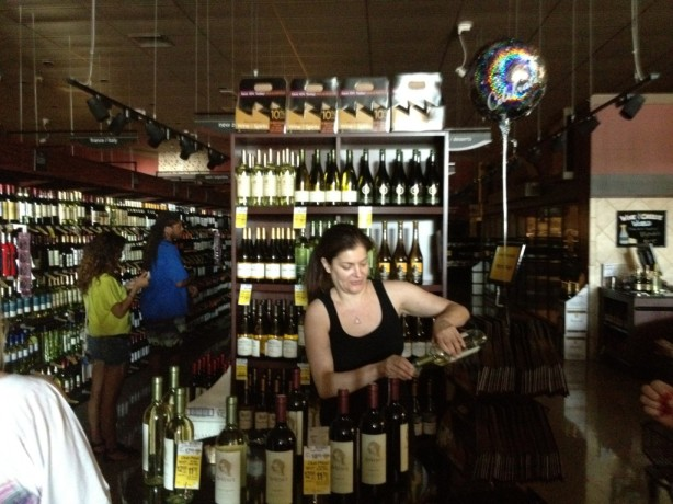 A wine tasting during the power outage at Safeway