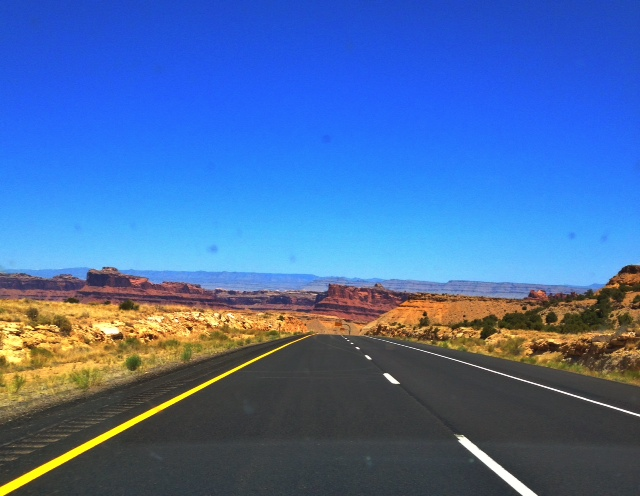 Heading towards the Mars-like landscape in Moab, Utah