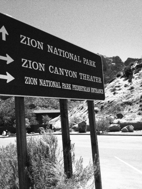 Walking in to Zion National Park in Utah