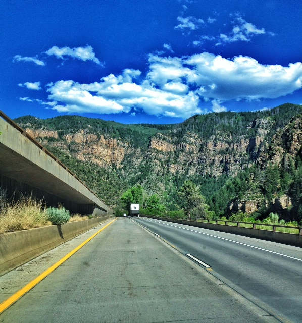 Driving on I-70 through the Colorado Rockies