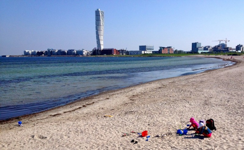 A view of the Western Harbour from the beach |  What it's like to get naked at a Swedish bathhouse