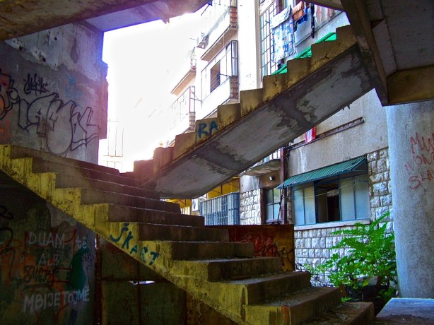 The remnants of war haunt an old bank in Mostar, Bosnia and Hercegovina