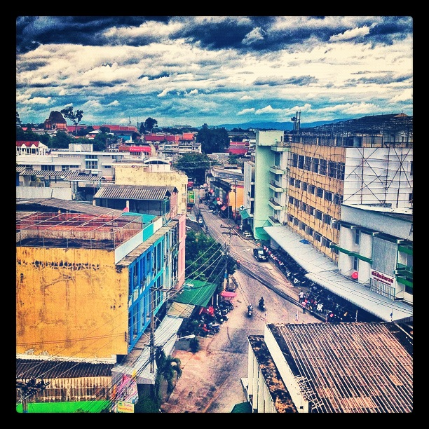 The view from the roof of the old city and Chiang Mai Gate