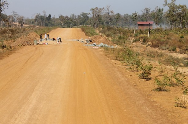 Villagers working on the road in Cambodia