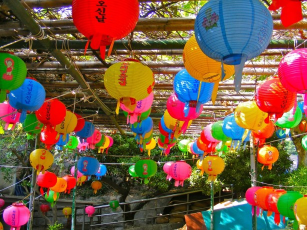 Paper lanterns hang in honor of Buddha