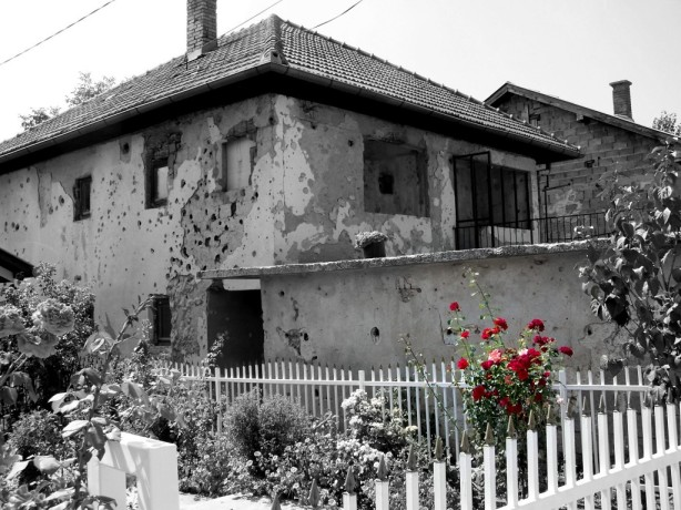 Bullet riddled building in Sarajoev