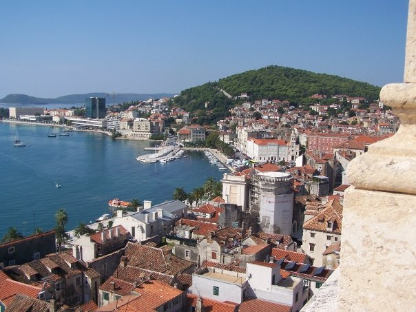 The view from a top the bell tower in Split, Croatia.