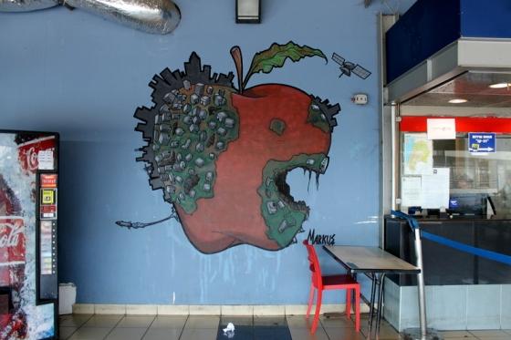 An apple as street art