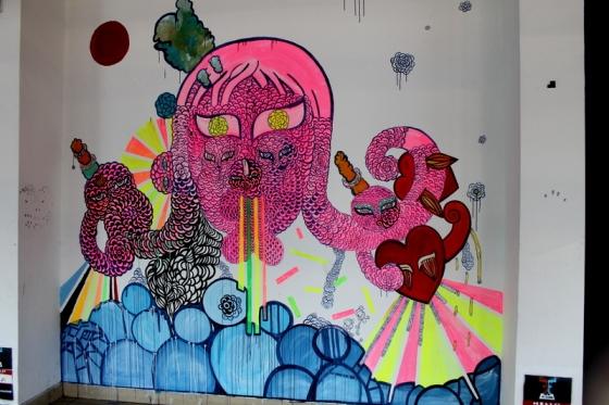 Colorful street art at Tel Aviv bus station