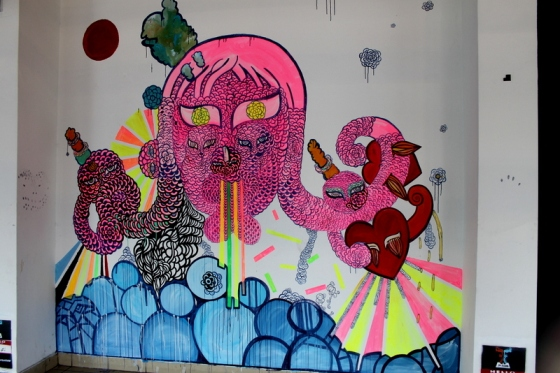 Colorful street art at Tel Aviv bus station
