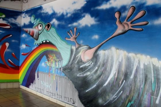 Street art with rainbow