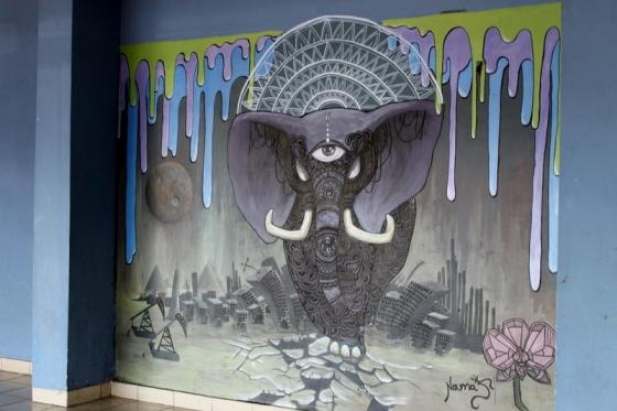 Elephants as street art