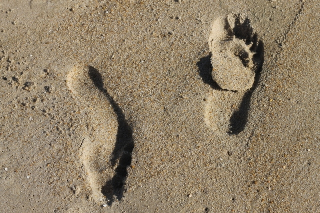 Foot prints at the beach in Rehoboth