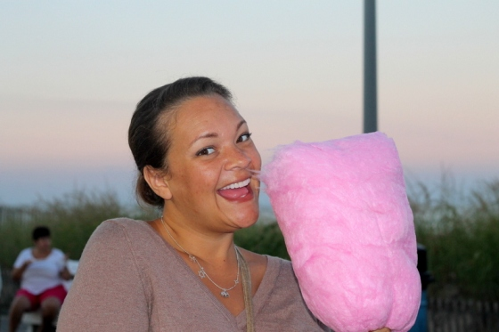 Enjoying cotton candy in Rehoboth Beach