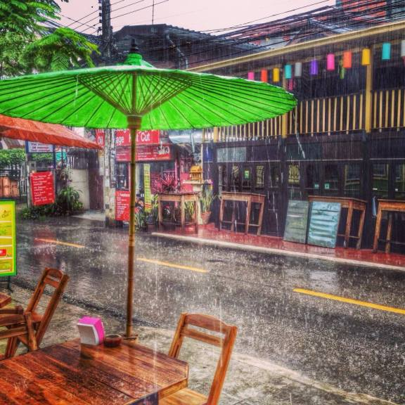 A day filled with rain during the winter in Chiang Mai