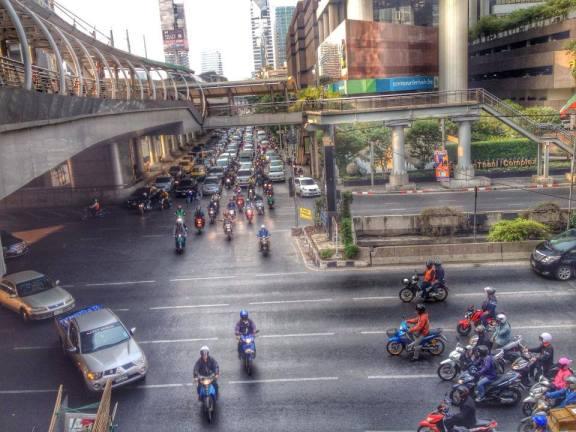 A crowded street in Bangkok
