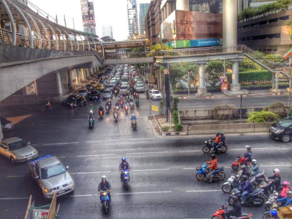 A crowded street in Bangkok
