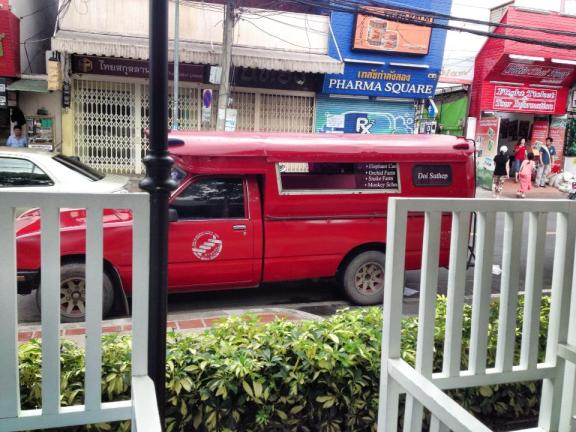 The red cab, or songthaew, found in Chiang Mai.