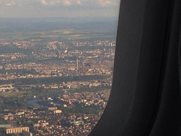 The view from the airplane of Prague