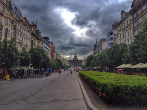 A view of Wenceslas Square in Prague