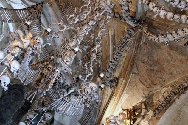 The chandelier inside the Church of Bones