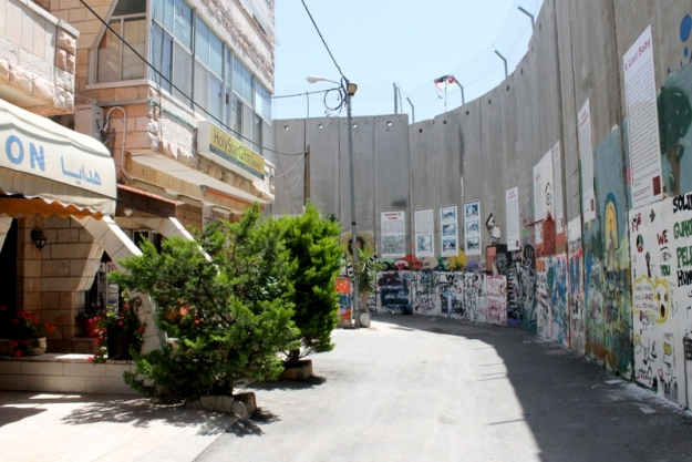 The wall in Bethlehem across from a shop