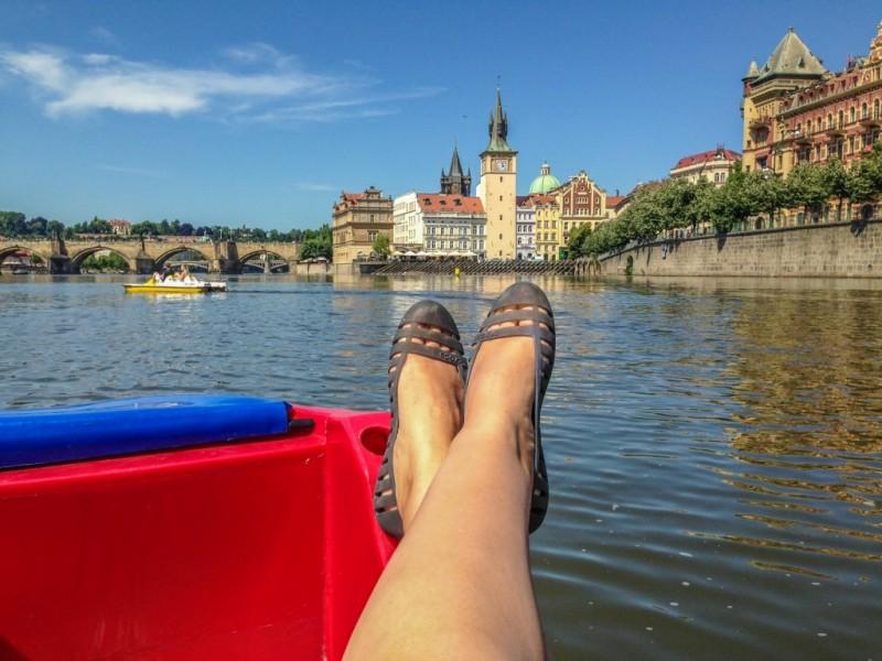 Prague paddle boating