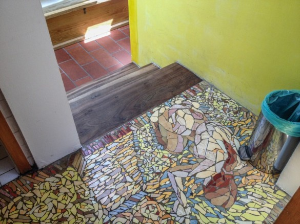 Mosaic tiles in Hostel Celica