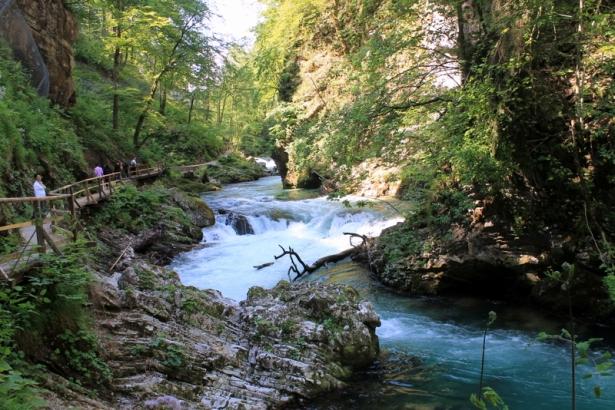 Waterfall in Vintgar Gorge Slovenia