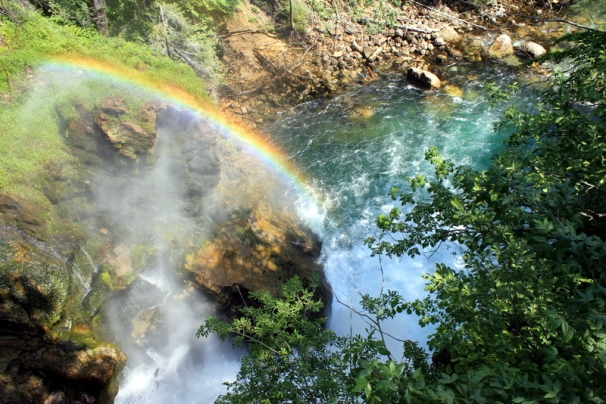 A rainbow at Sum Waterfall in Vintgar Gorge