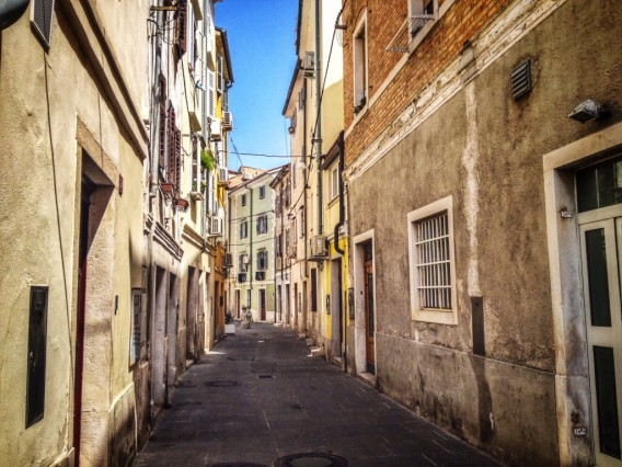 The narrow streets of Piran, Slovenia