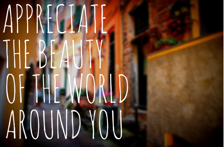 Appreciate the beauty of the world around you
