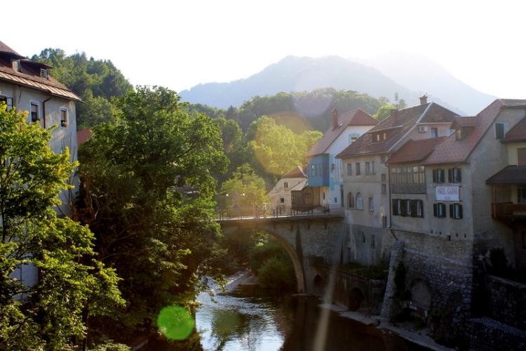 The river and entrance to Skofja Loka