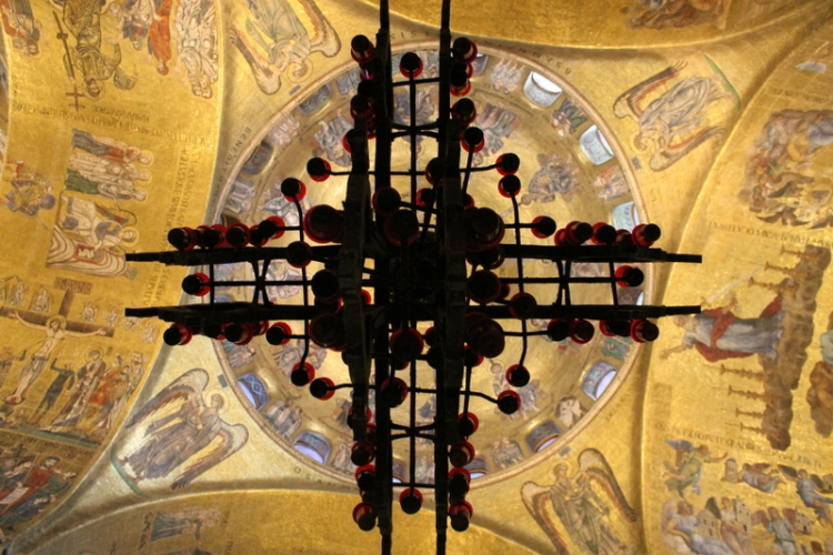 The ceiling inside St. Mark's Basilica in Venice