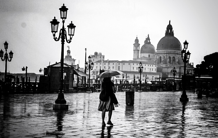 venice, italy in black and white