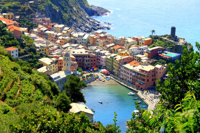 The view of Vernazza from the trail