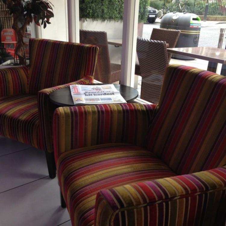 The lobby at Paddingon's Hotel Indigo