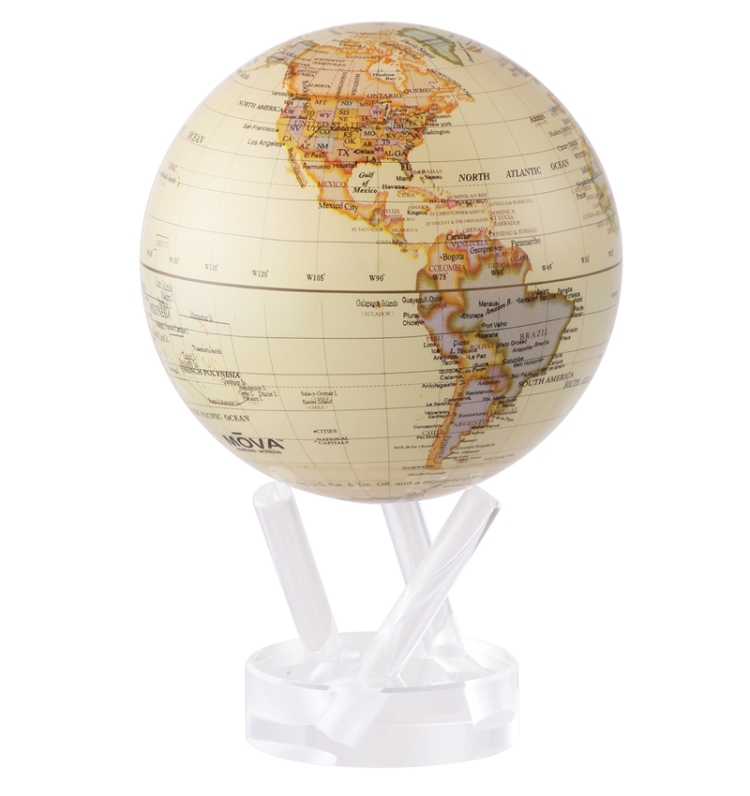The Gift Guide for Travelers featuring only sustainable gifts and gifts which give back to local communities. Pictured: The MOVA Globe, which is made of recyclable material and uses solar energy to rotate. For more, visit www.dtravelsround.com